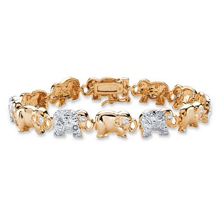 Diamond Accent Two-Tone Elephant Parade Bracelet 18k Yellow Gold-Plated 7.25
