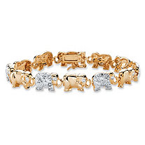 Diamond Accent Two-Tone Elephant Parade Bracelet 18k Yellow Gold-Plated 7.25""