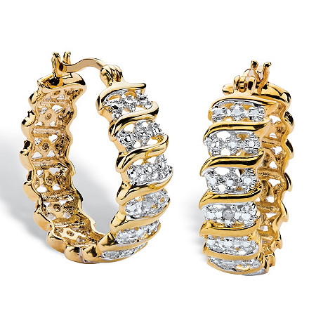 "Round Diamond Accent S-Link Hoop Earrings 18k Yellow Gold-Plated  (1"") at PalmBeach Jewelry"