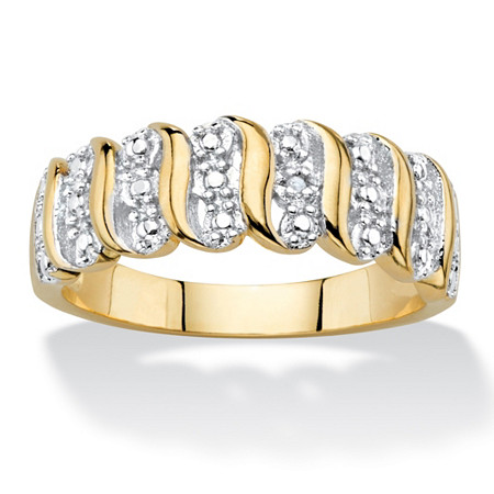 Diamond Accent S-Link Ring 18k Yellow Gold-Plated at PalmBeach Jewelry