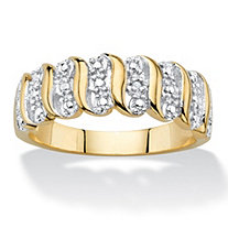 Diamond Accent S-Link Ring 18k Yellow Gold-Plated