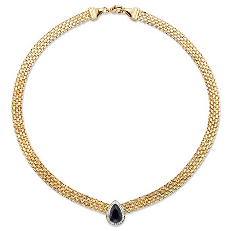 "4.75 TCW Pear-Cut Genuine Midnight Blue Sapphire Halo Necklace 18k Yellow Gold-Plated 16"" at PalmBeach Jewelry"
