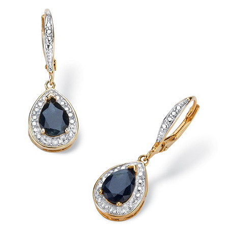 3.70 TCW Pear-Cut Genuine Midnight Blue Sapphire Halo-Style Drop Earrings 18k Gold-Plated at PalmBeach Jewelry