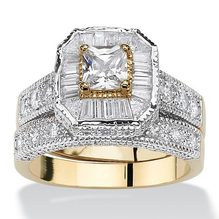 Princess-Cut Cubic Zirconia Two-Tone Vintage-Style 2-Piece Bridal Ring Set 2.31 TCW 14k Gold-Plated at PalmBeach Jewelry