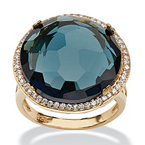 Checkerboard-Cut London Blue Glass and CZ Halo Cocktail Ring .27 TCW 14k Gold-Plated