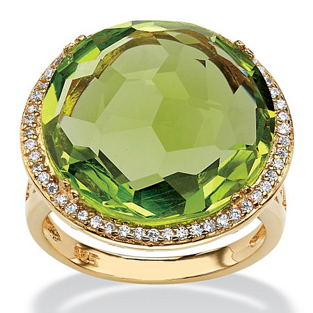 .27 TCW Checkerboard-Cut Green Glass and CZ Halo Cocktail Ring 14k Gold-Plated at PalmBeach Jewelry