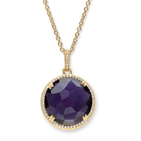 .31 TCW Checkerboard-Cut Simulated Amethyst and CZ Halo Necklace 14k Gold-Plated 18