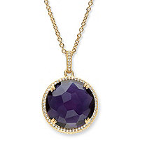 .31 TCW Checkerboard-Cut Simulated Amethyst and CZ Halo Necklace 14k Gold-Plated 18""