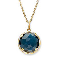 .31 TCW Checkerboard-Cut London Blue Simulated Sapphire and CZ Halo Necklace 14k Gold-Plated 18