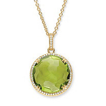 Checkerboard-Cut Lemon Green Glass and CZ Halo Necklace .31 TCW  14k Gold-Plated 18