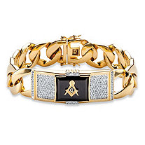 Men's Emerald-Cut Genuine Black Onyx and CZ Masonic Curb-Link Bracelet 14k Gold-Plated 8
