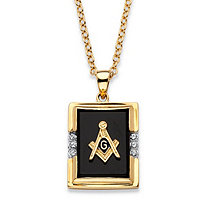Men's Emerald-Cut Genuine Black Onyx Masonic Pendant Necklace 14k Gold-Plated 20