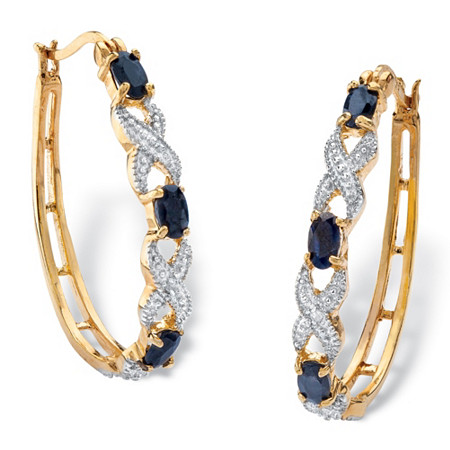 "2.10 TCW Oval-Cut Genuine Midnight Blue Sapphire X & O Hoop Earrings 18k Yellow Gold-Plated  (1 1/4"") at PalmBeach Jewelry"