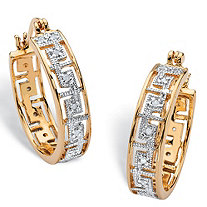 "Diamond Accent Greek Key Hoop Two-Tone Earrings 18k Yellow Gold-Plated (1"")"