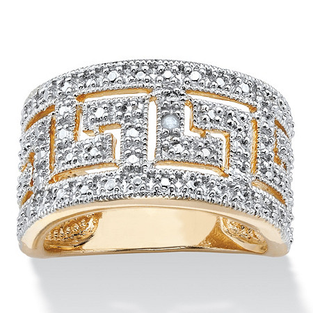 Round Diamond Accent Greek Key Cutout Dome Ring Yellow Gold-Plated at PalmBeach Jewelry