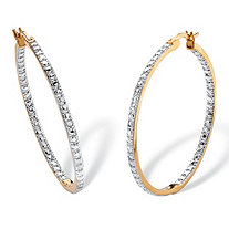 "Diamond Accent Inside-Out Two-Tone Hoop Earrings 18k Yellow Gold-Plated (1 1/2"")"