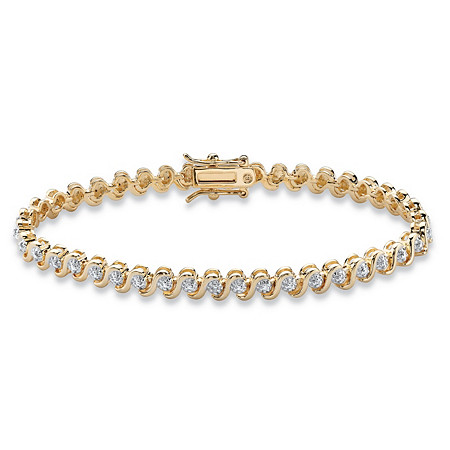 "Round Diamond Accent S-Link Tennis Bracelet 18k Yellow Gold-Plated 7.5"" at PalmBeach Jewelry"