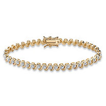 Round Diamond Accent S-Link Tennis Bracelet 18k Yellow Gold-Plated 7.5""