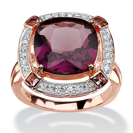.22 TCW Cushion-Cut Purple Glass and White CZ Halo Cocktail Ring in Rose Gold-Plated Sterling Silver at PalmBeach Jewelry