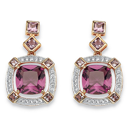 .36 TCW Cushion-Cut Simulated Amethyst & CZ Halo Earrings in Rose Gold-Plated Sterling Silver at PalmBeach Jewelry