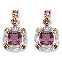 .36 TCW Cushion-Cut Simulated Amethyst & CZ Halo Earrings in Rose Gold-Plated Sterling Silver