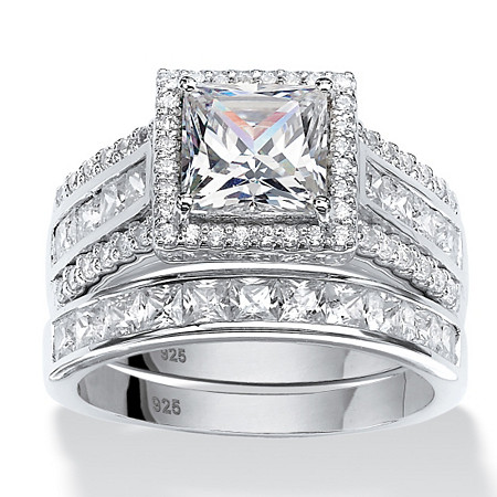 3.50 TCW Square Cubic Zironica Two-Piece Halo Bridal Ring Set in Platinum over Sterling Silver at PalmBeach Jewelry