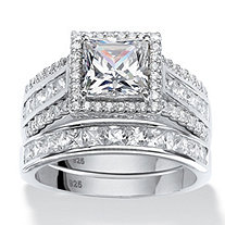 3.50 TCW Square Cubic Zironica Two-Piece Halo Bridal Ring Set in Platinum over Sterling Silver