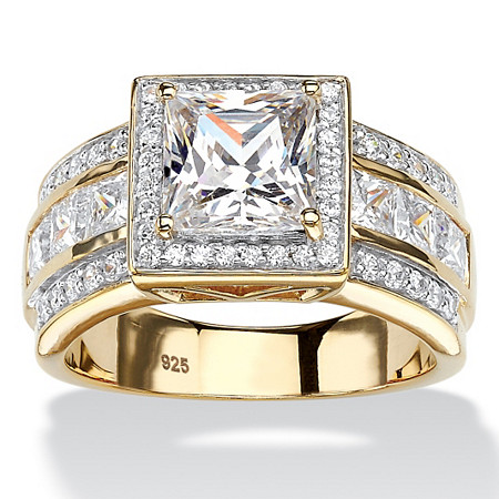 2.92 TCW Princess-Cut Cubic Zirconia Halo Engagement Ring in 18k Gold over Sterling Silver at PalmBeach Jewelry