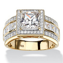 SETA JEWELRY 2.92 TCW Princess-Cut Cubic Zirconia Halo Engagement Ring in 18k Gold over Sterling Silver