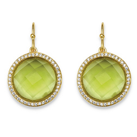 .42 TCW Checkerboard-Cut Simulated Peridot & CZ Halo Drop Earrings 14k Gold-Plated at PalmBeach Jewelry