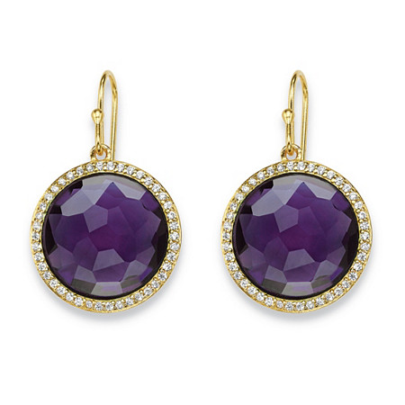 Round Checkerboard-Cut Purple Glass and CZ Halo Earrings .42 TCW 14k Gold-Plated at PalmBeach Jewelry