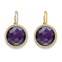 Round Checkerboard-Cut Purple Glass and CZ Halo Earrings .42 TCW 14k Gold-Plated