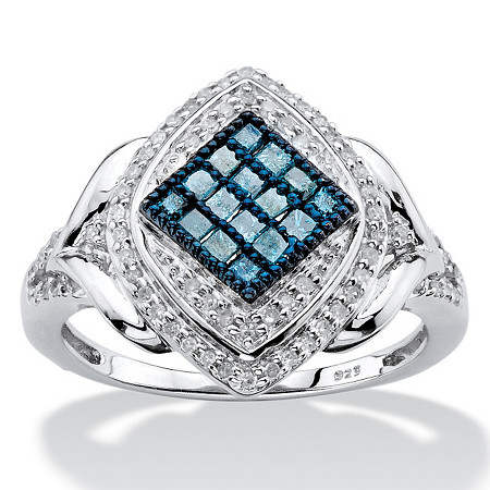 1/2 TCW Enhanced Blue and White Diamond Marquise Cocktail Ring in Platinum over Sterling Silver at PalmBeach Jewelry
