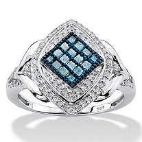 SETA JEWELRY 1/2 TCW Enhanced Blue and White Diamond Marquise Cocktail Ring in Platinum over Sterling Silver