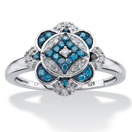 1/5 TCW Round Enhanced Blue and White Diamond Floral Motif Cocktail Ring in Platinum over Sterling Silver at PalmBeach Jewelry