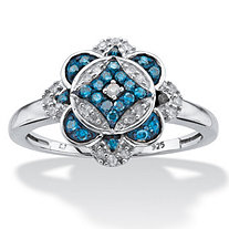 SETA JEWELRY 1/5 TCW Round Enhanced Blue and White Diamond Floral Motif Cocktail Ring in Platinum over Sterling Silver