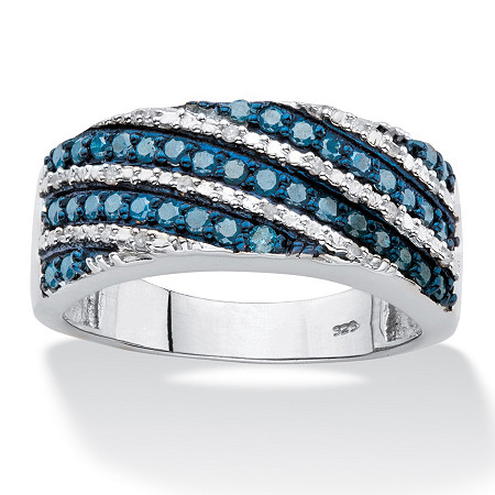 1/2 TCW Enhanced Blue and White Diamond Diagonal Cocktail Ring in Platinum over Sterling Silver at PalmBeach Jewelry