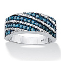 SETA JEWELRY 1/2 TCW Enhanced Blue and White Diamond Diagonal Cocktail Ring in Platinum over Sterling Silver