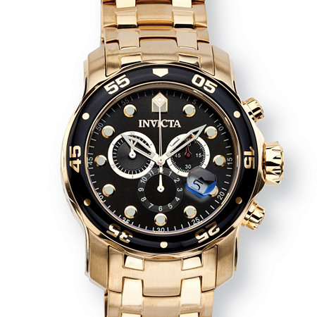 "Men's Invicta Pro Diver Watch with Black Face in Gold Tone Stainless Steel 8.5"" at PalmBeach Jewelry"