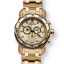 SETA JEWELRY Men's Invicta Pro Diver Classic Watch With Gold Dial in Gold Tone Stainless Steel 8.5