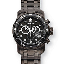 SETA JEWELRY Men's Invicta Pro Diver Multi-Dial Black and White Watch in Stainless Steel 8.5