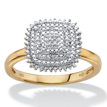 White Diamond Accent Pave-Style Square Cluster Ring in 14k Yellow Gold over Sterling Silver at PalmBeach Jewelry