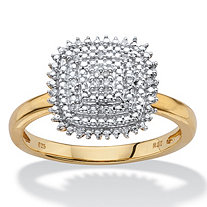 White Diamond Accent Pave-Style Square Cluster Ring in 14k Yellow Gold over Sterling Silver