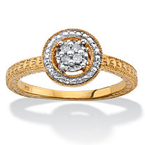 Diamond Accent Halo-Style Ring in 14k Yellow Gold over Sterling Silver