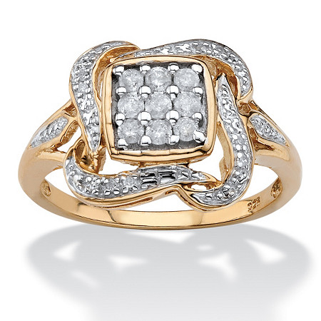 1/4 TCW Diamond Floral Motif Ribbon Halo Ring in 14k Gold over Sterling Silver at PalmBeach Jewelry