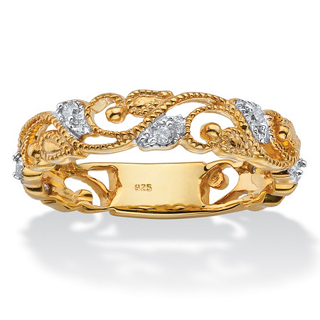 1/10 TCW Diamond Openwork Filigree Ring in 14k Yellow Gold over Sterling Silver at PalmBeach Jewelry
