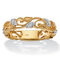 SETA JEWELRY 1/10 TCW Diamond Openwork Filigree Ring in 14k Yellow Gold over Sterling Silver