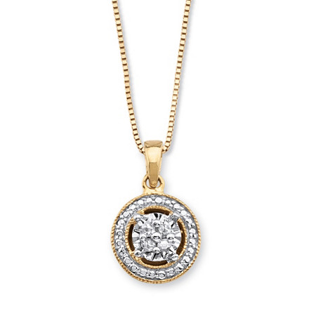 Diamond Accent Halo-Style Pendant Necklace in 14k Gold over Sterling Silver 18