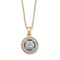 Diamond Accent Halo-Style Pendant Necklace in 14k Gold over Sterling Silver 18""