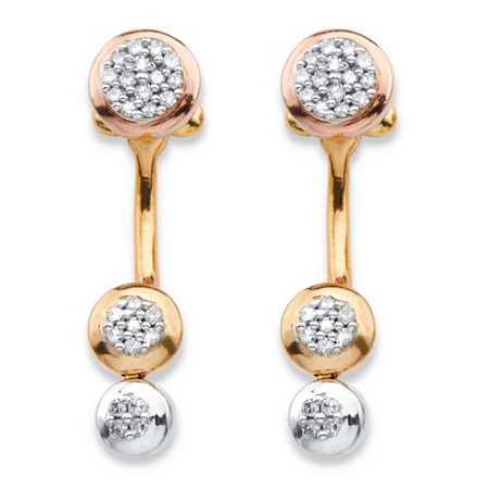1/4 TCW Diamond Cluster Front-Back Earrings in 14k Gold-Plated and Rose Gold-Plated Sterling Silver at PalmBeach Jewelry